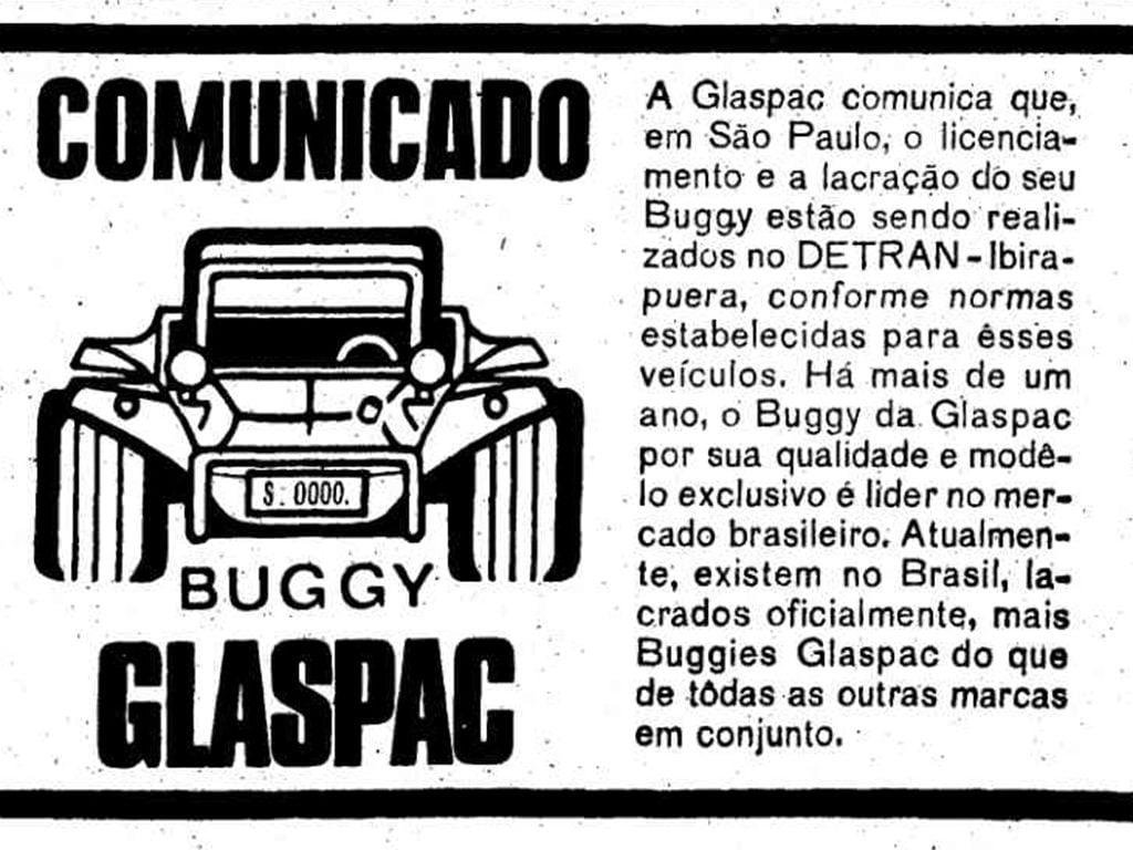 Buggy Glaspac - publicidade no Estadão, de 1971